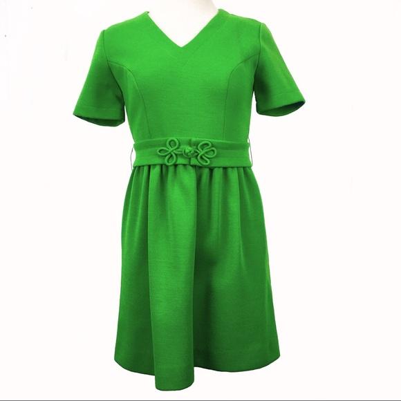 Vintage Dresses & Skirts - Vintage 60s Jonathan Logan Green Mod Dress